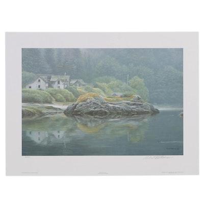 """Robert Bateman Offset Lithograph """"Potlatch Village"""""""