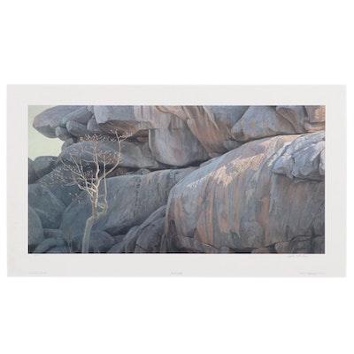 """Robert Bateman Offset Lithograph """"Kojpe Lookout - Leopard,"""" 2000"""