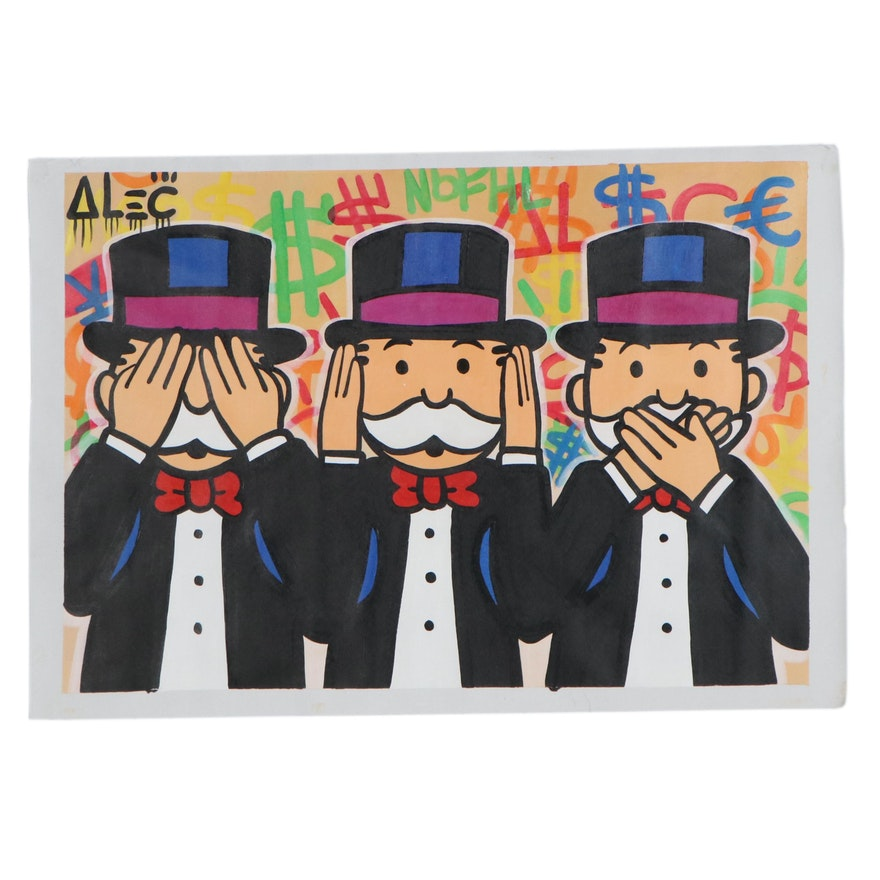Oil Painting over Giclée after Alec Monopoly, 21st Century