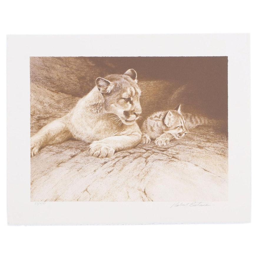 "Robert Bateman Offset Lithograph ""Cougar and Kit,"" 1995"