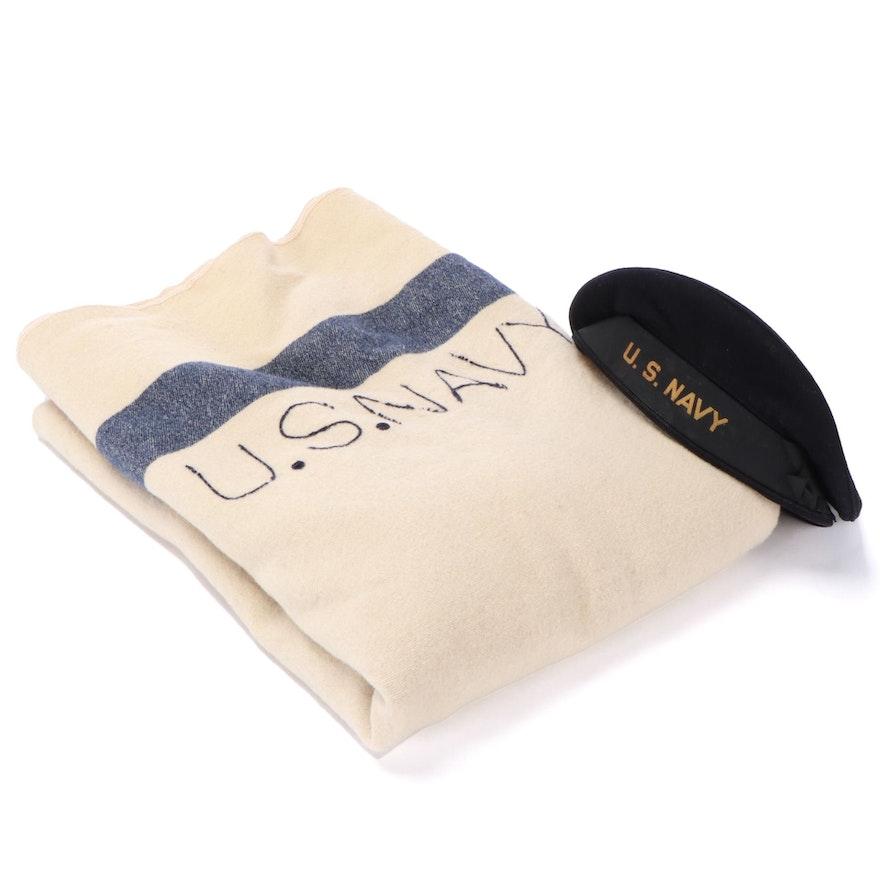 "World War II Era U.S. Navy ""Flat Hat"" and Wool Blanket"