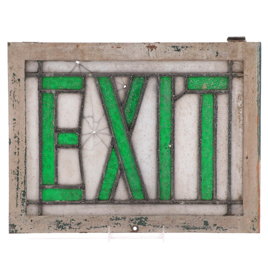 Green Glass and Milk Glass Exit Sign, Early to Mid 20th Century