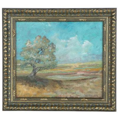 "Robert Riddle Baker Landscape Acrylic Painting ""Gold Horizon"""