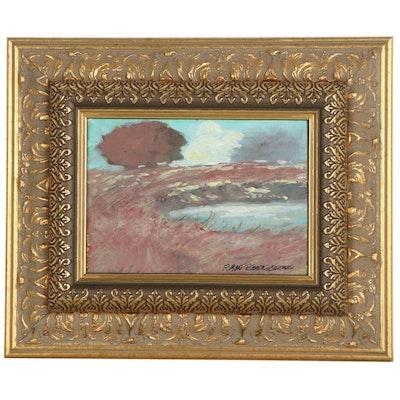 "Robert Riddle Baker Landscape Acrylic Painting ""Winter Wind"""