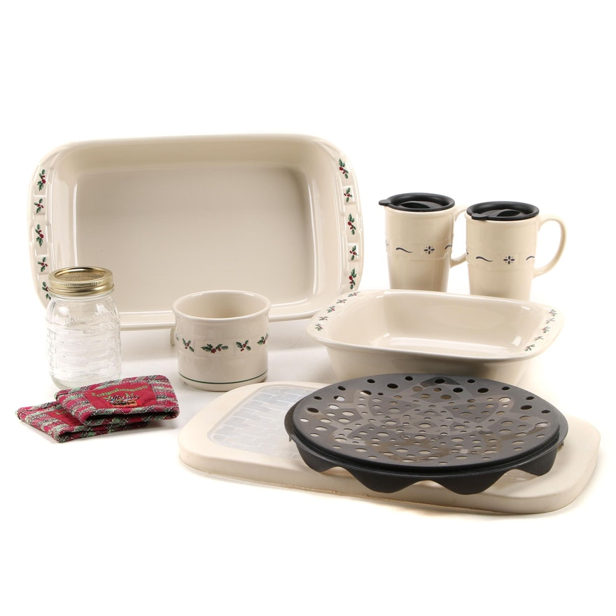 """Longaberger Pottery """"Holly"""" and """"Woven Traditions"""" Ceramic Bakeware and More"""