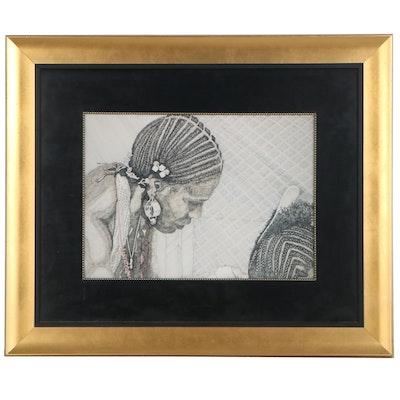 Giclée of Woman Plaiting Hair