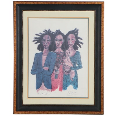 "Brenda Singletary Offset Lithograph ""Women Achieving Balance,"" 1996"