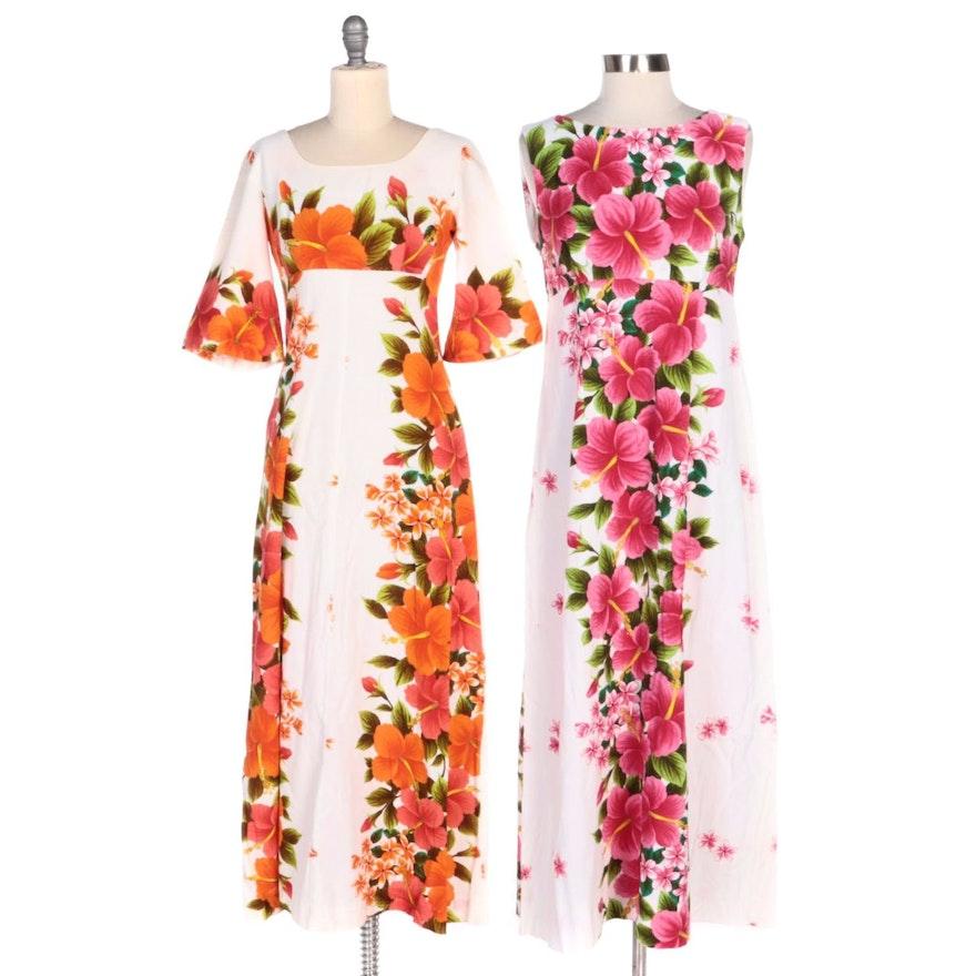 Ui-Maikai Hawaiian Barkcloth Style Cotton Hibiscus Print Maxi Dresses
