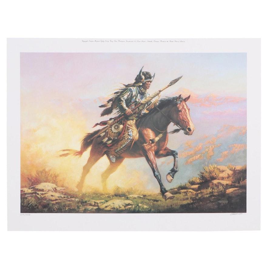 """Chuck Ren Offset Lithograph """"Spirit of the Plains"""""""