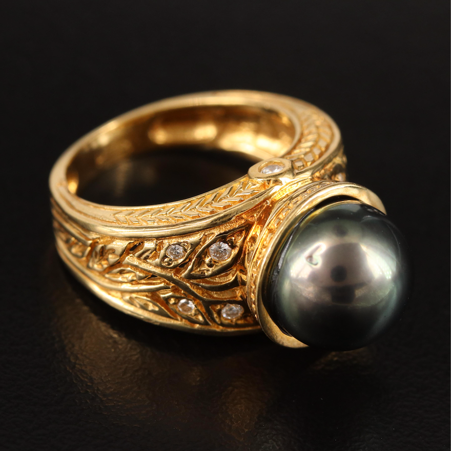 18K Pearl and Diamond Ring with Foliate Detail