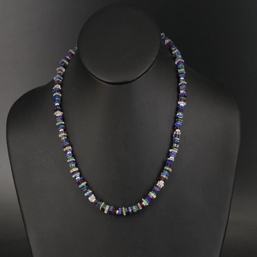 Sterling Lapis Lazuli, Malachite and Gemstone Beaded Necklace