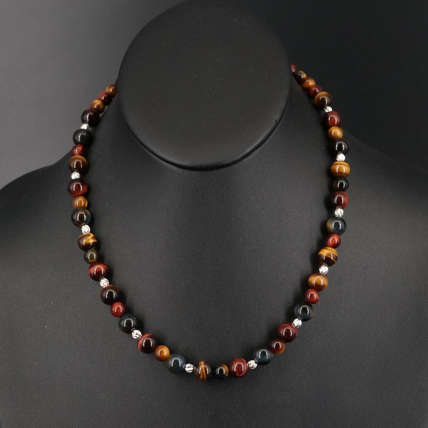 Sterling Tiger's Eye Quartz Beaded Necklace