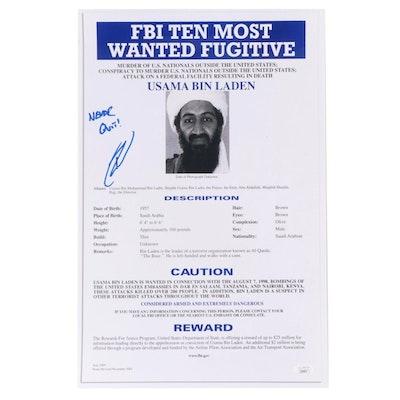 """Robert O'Neill Signed Usama Bin Laden """"Never Quit"""" FBI Most Wanted Print, JSA"""