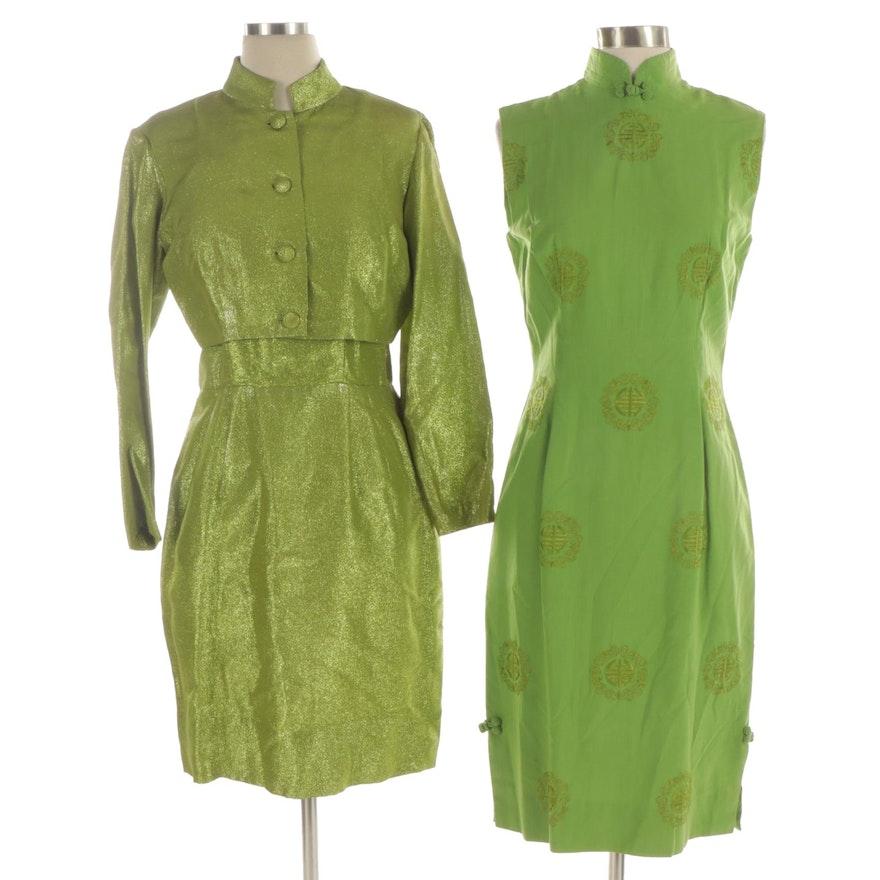 Metallic Green Dress Suit and Cheongsam Style Dress