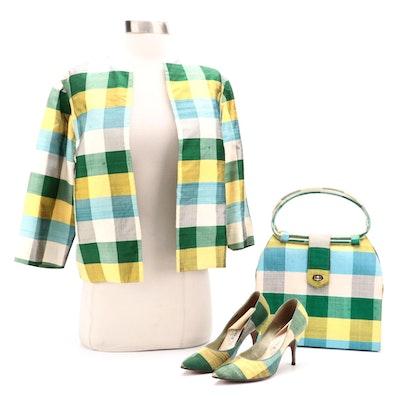 Custom Made Matching Plaid Silk Shantung Jacket, Shoes and Purse
