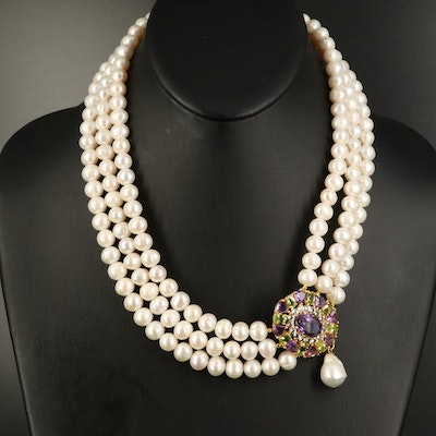 Sterling Pearl and Gemstone Triple-Strand Asymmetrical Necklace