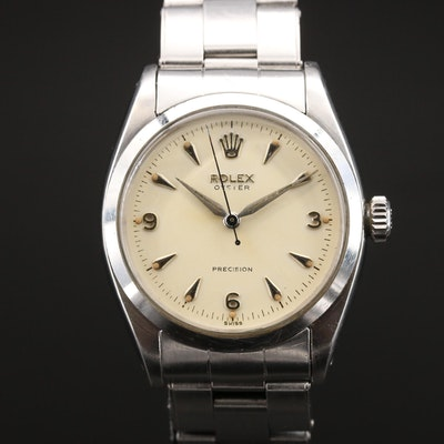 1956 Rolex Oyster Precision 6422 Stainless Steel Stem Wind Wristwatch