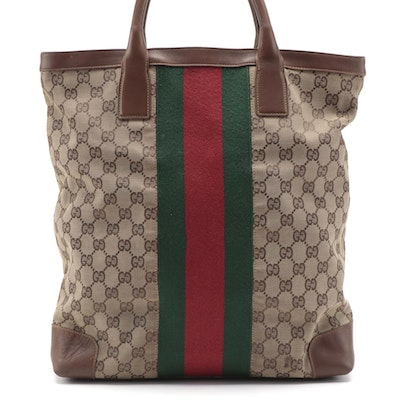 Gucci Limited Edition GG Canvas and Wide Web Tote with Leather Trim