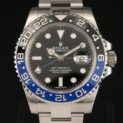 "Rolex GMT - Master II ""Batman"" 116710BLNR Stainless Steel Wristwatch"