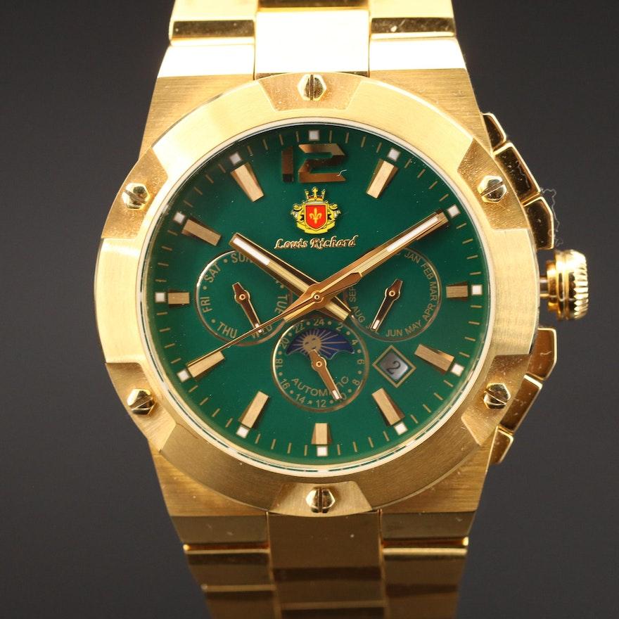 Louis Richard Multi-Function Gold Tone Automatic Wristwatch