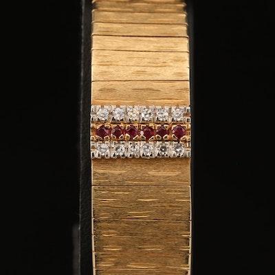 Baume & Mercier 14K Diamond and Ruby Wristwatch with Hidden Dial