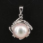 18K Pearl and Diamond Pendant