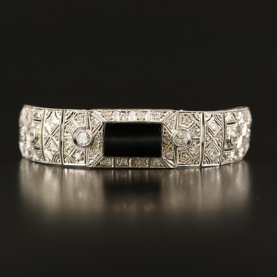 Art Deco Platinum Black Onyx and 1.40 CTW Diamond Bracelet