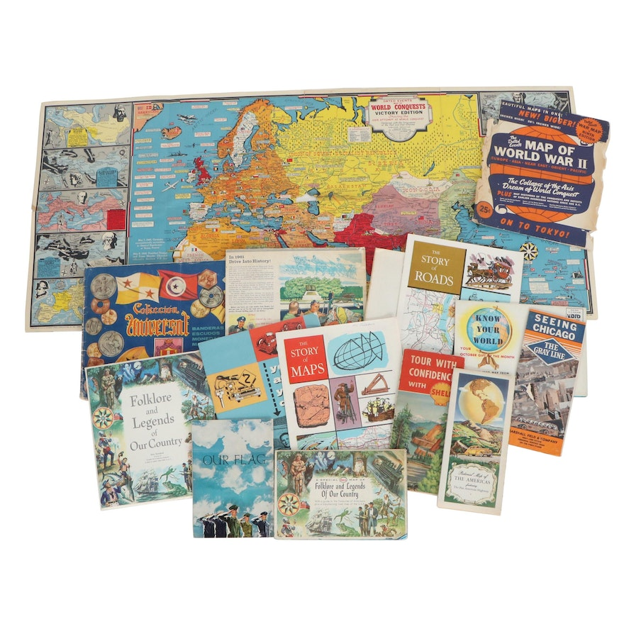 Historical Offset Lithograph Maps and Motor Manuals, Mid to Late 20th Century