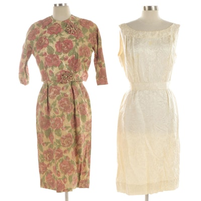 Dynasty and Other Floral Brocade and Silk Jacquard Dress and Dress Suit