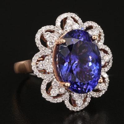 14K 10.44 CT Tanzanite and 1.10 CTW Diamond Ring with Scalloped Edge