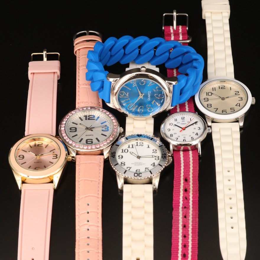 Pink, White and Blue Fashion Wristwatches