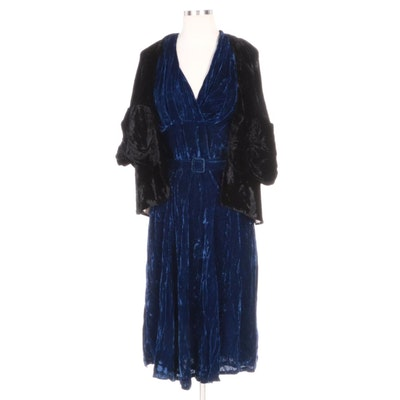 Black Scallop Capelet Jacket and Blue Velvet Belted Sleeveless Evening Dress
