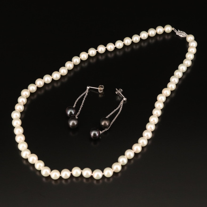 14K Pearl Necklace and Earrings
