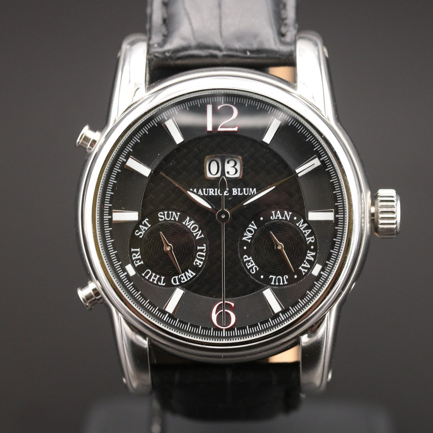 Maurice Blum Triple Calendar Stainless Steel Automatic Wristwatch