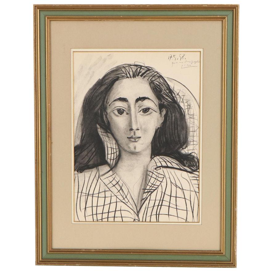 "Portrait Lithograph after Pablo Picasso ""Jacqueline,"" Mid-Late 20th Century"