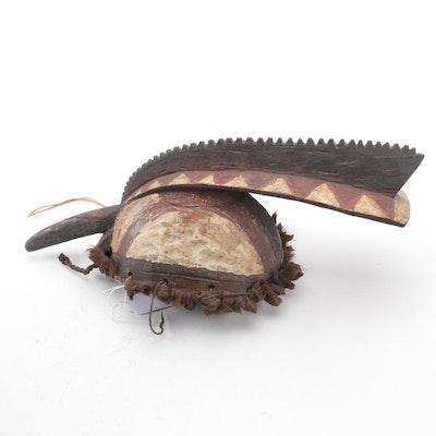 Mossi Polychrome Wood and Fiber Helmet Mask, Burkina Faso
