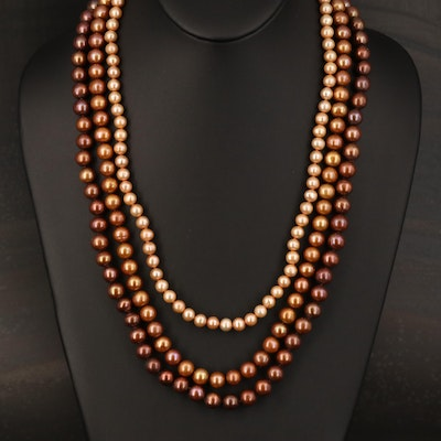 Baroque Pearl Triple Strand Necklace with 14K Clasp