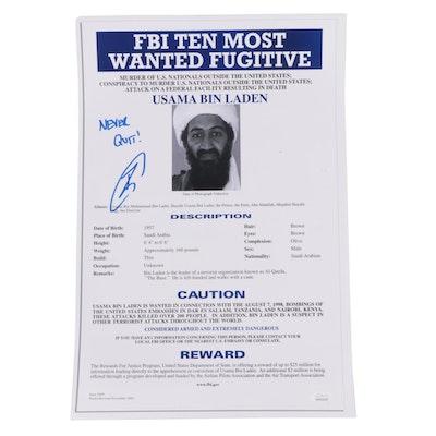 Robert O'Neill Signed Usama Bin Laden FBI Most Wanted Photo Print Poster, JSA
