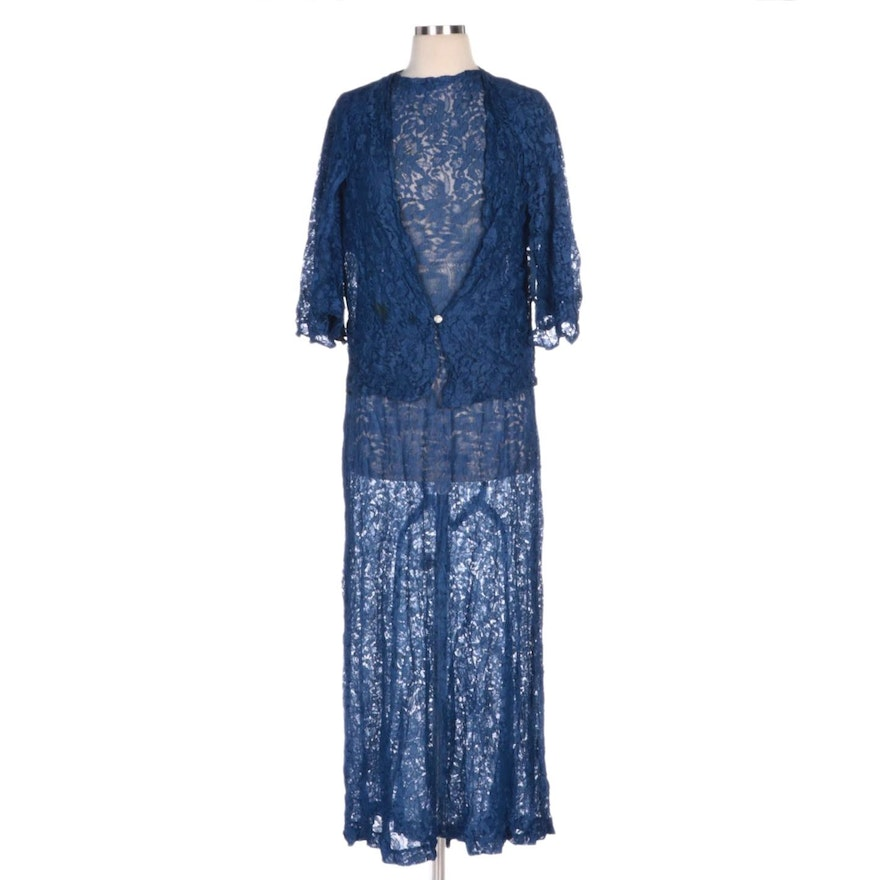 Royal Blue Lace Full-Length Dress with Matching Jacket