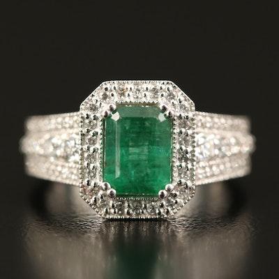 EFFY 14K 1.42 CT Emerald and Diamond Ring