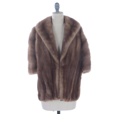 Light Brown Mink Fur Stole with Shawl Collar by Pogués