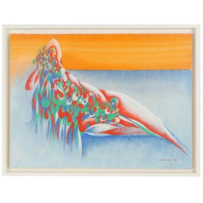 Albert Radoczy Acrylic Painting of Reclining Female Figure, 1967