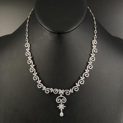 18K 3.06 CTW Diamond Swirl Necklace