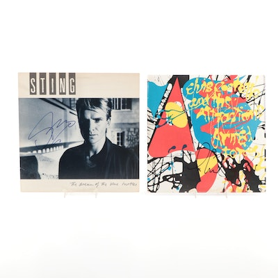 Sting and Elvis Costello Autographed Vinyl LP Records with COAs