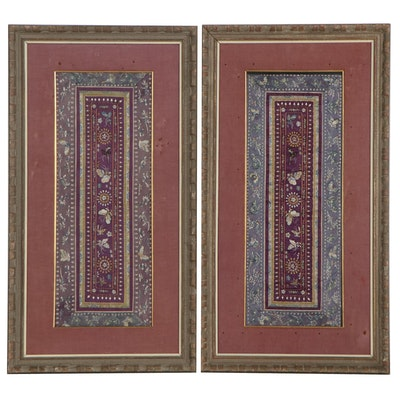 Handmade Chinese Embroidered Silk and Goldwork Panels with Butterfly Motif