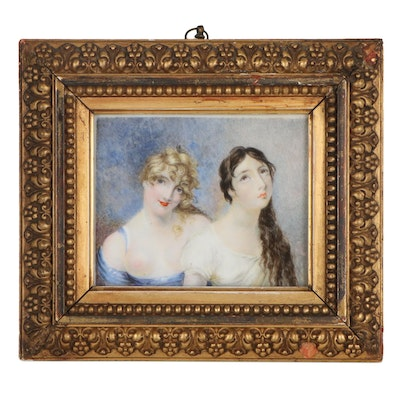 Hand-Painted Portraits of Two Women on Porcelain, Early 20th Century