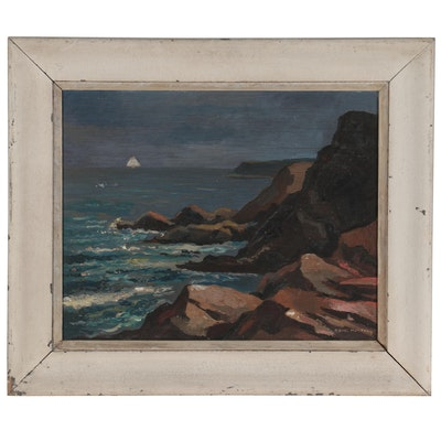 Oil Painting of Coastal Landscape, Mid-20th Century