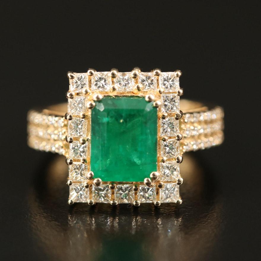 EFFY 14K 2.19 CT Emerald and 1.35 CTW Diamond Ring