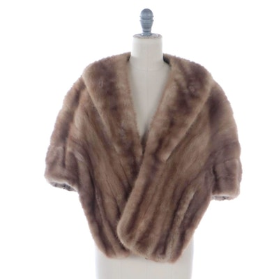Light Brown Mink Fur Stole with Shawl Collar by Jenny