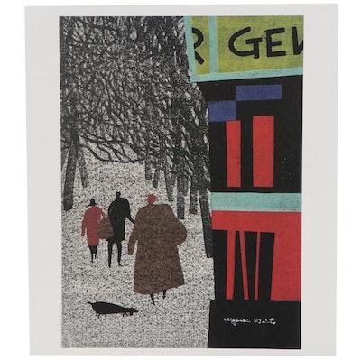 "Offset Lithograph after Kiyoshi Saito ""Winter in Paris,"" 21st Century"
